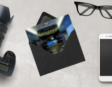 grafický návrh pozvánky módní značky Windsors